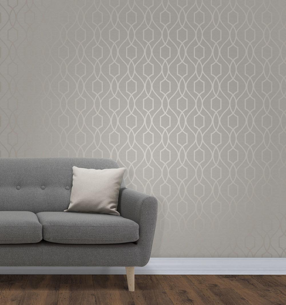 Fine Decor Trellis Taupe Grey Fd