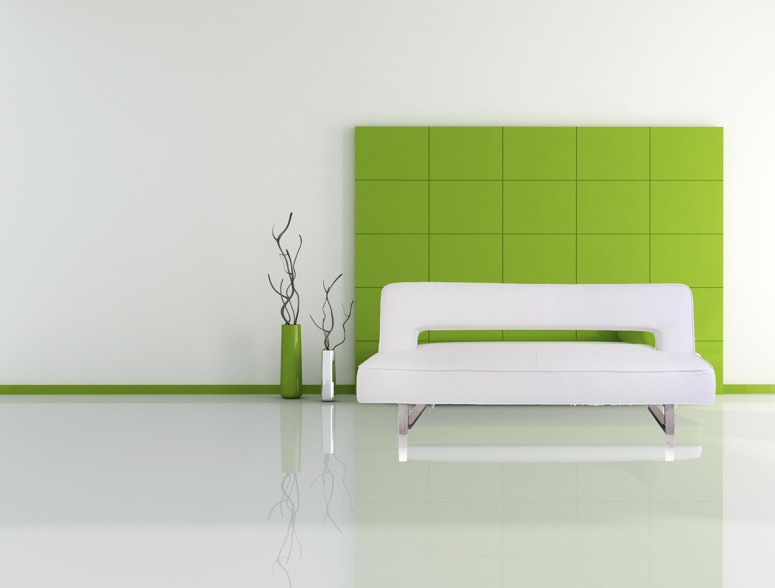 Fine Looking Green Gloss Wall Panels Combined White