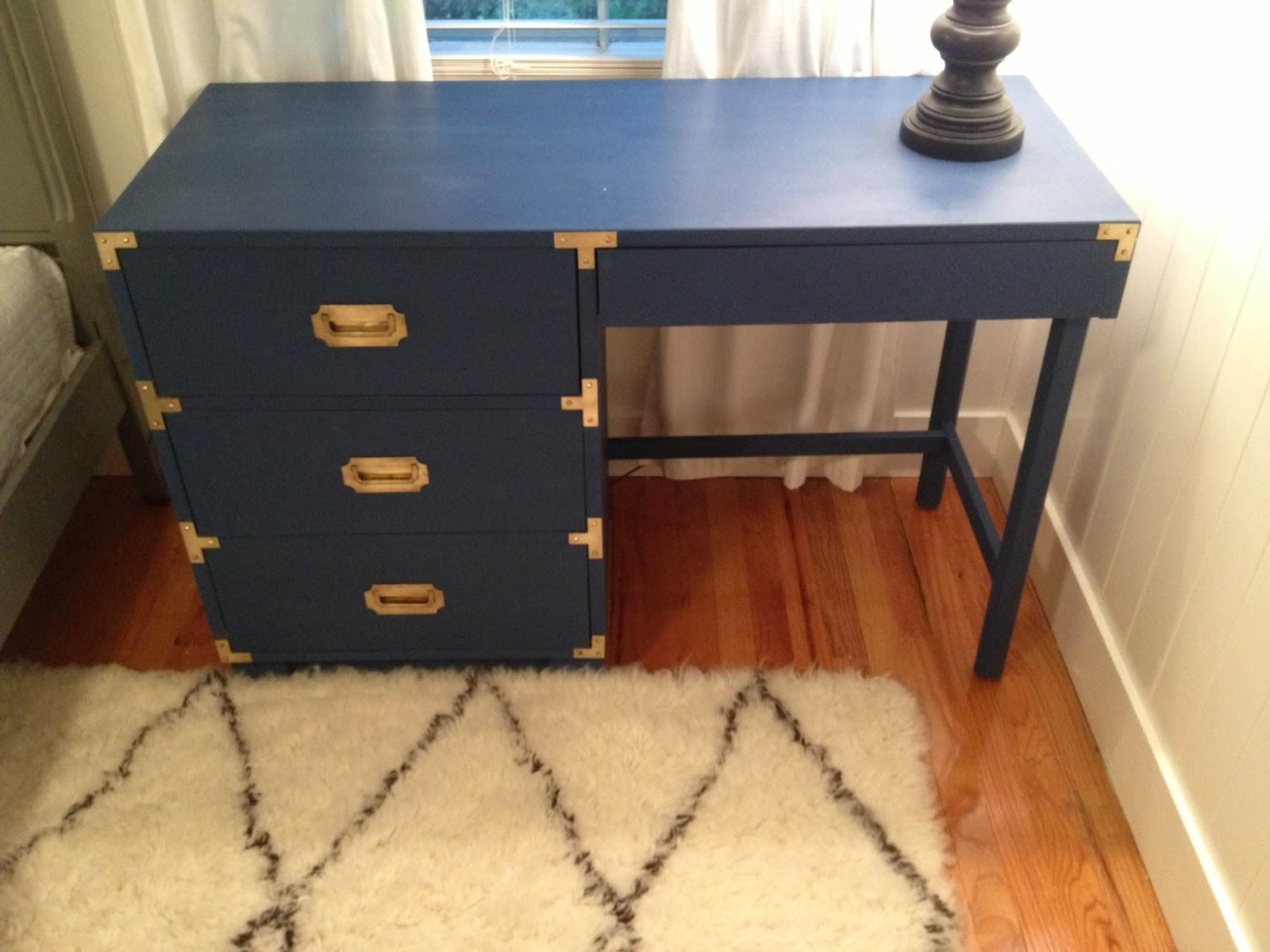 Finished Diy Campaign Desk Makeover Krystine Edwards