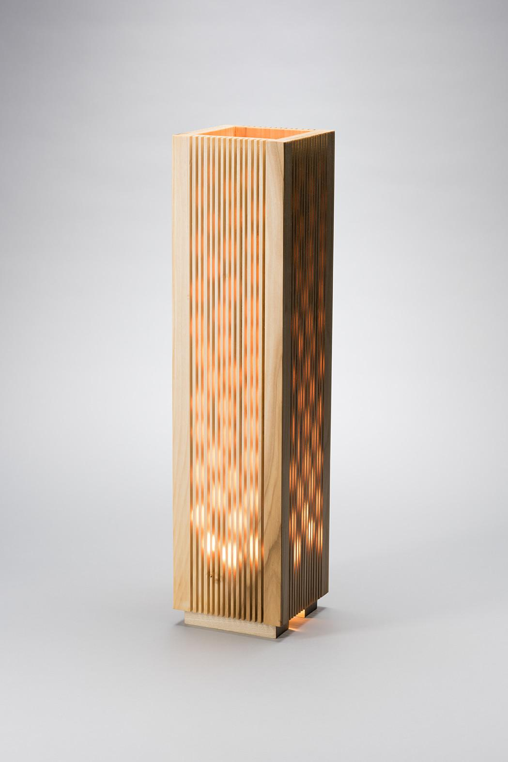 Fire Lamp Modern Wood Handcrafted Table