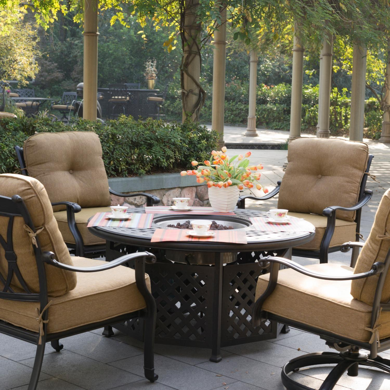 Fire Pit Conversation Patio Furniture Modern Outdoor