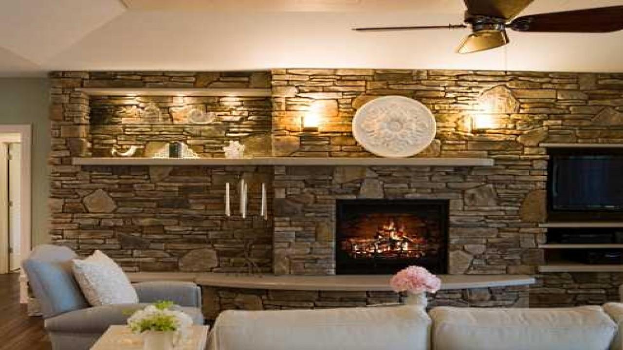 Fireplace Mantel Bookcase Living Room Stone