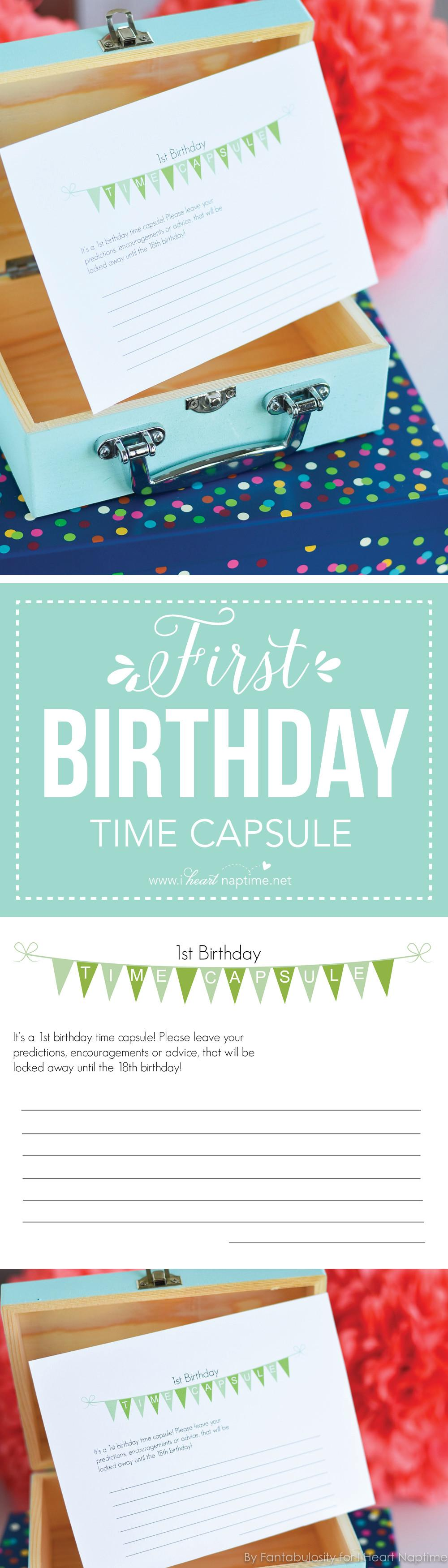 First Birthday Time Capsule Printable Heart