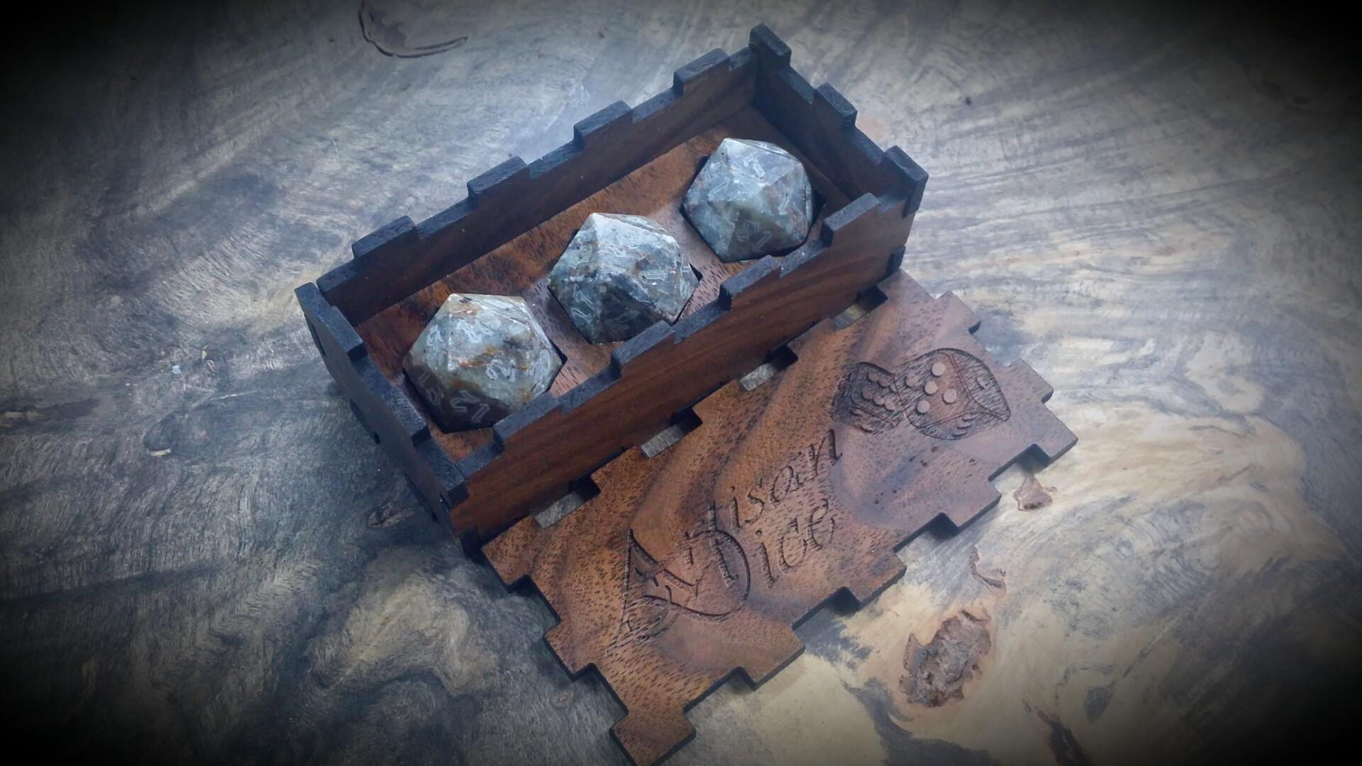 First Run Scotch Rock D20s Artisan Dice