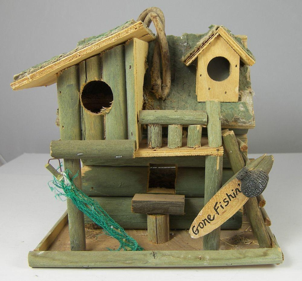Fishing Cabin Decorative Bird House Very Rustic
