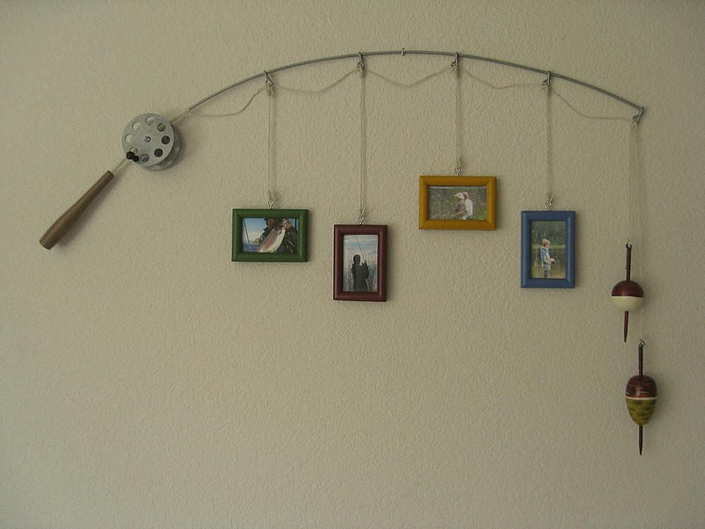 Fishing Pole Frame Metal Silver Frames