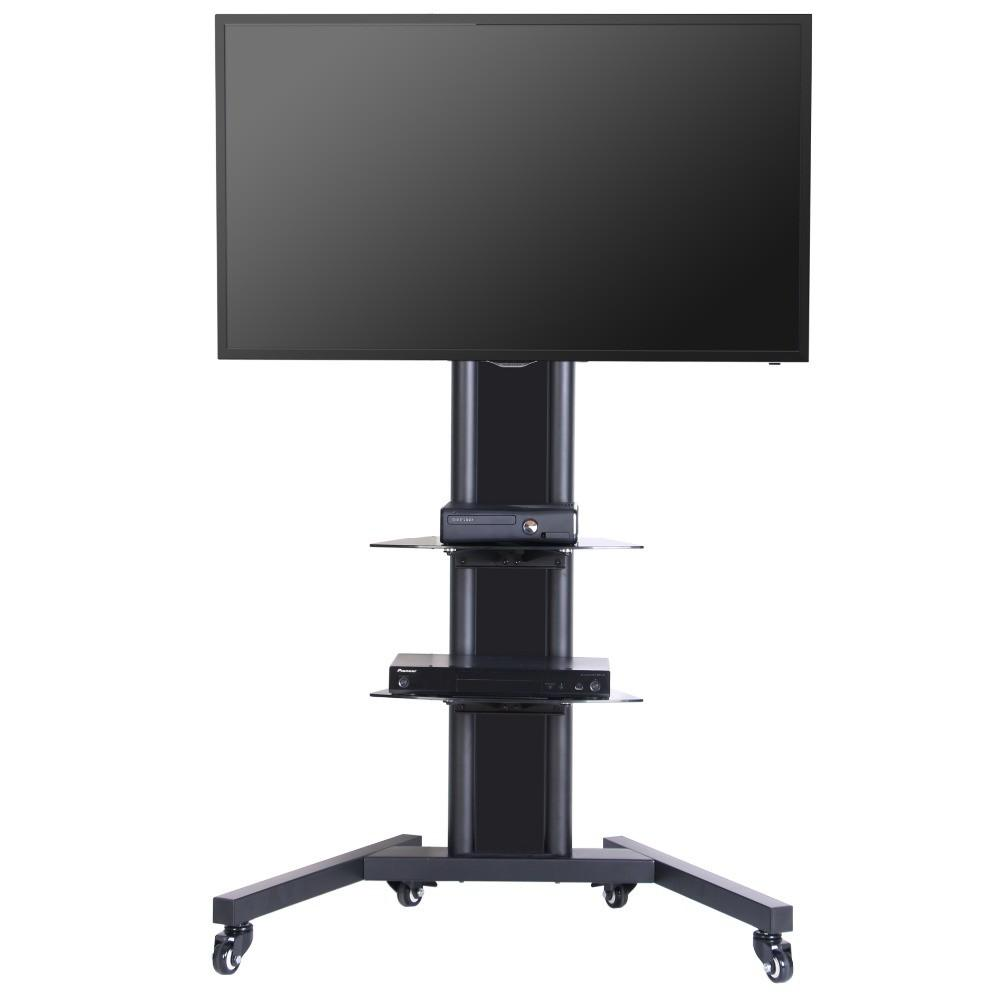 Fitueyes Black Cart Mobile Stand Shelves