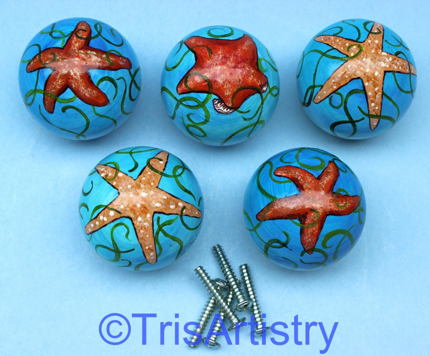 Five Hand Painted Starfish Drawer Pulls Cabinet Knobs