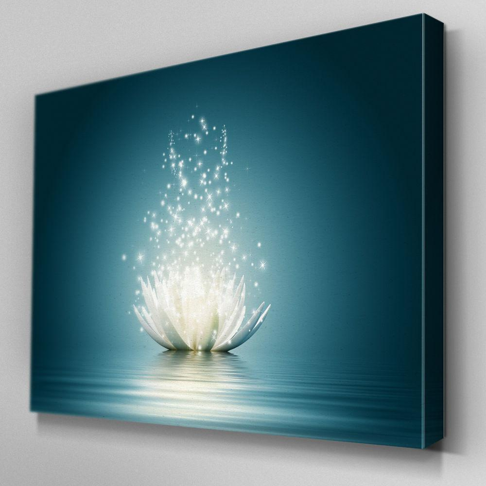 Fl317 Dazzling Lotus Flower Canvas Wall Art Multi Panel