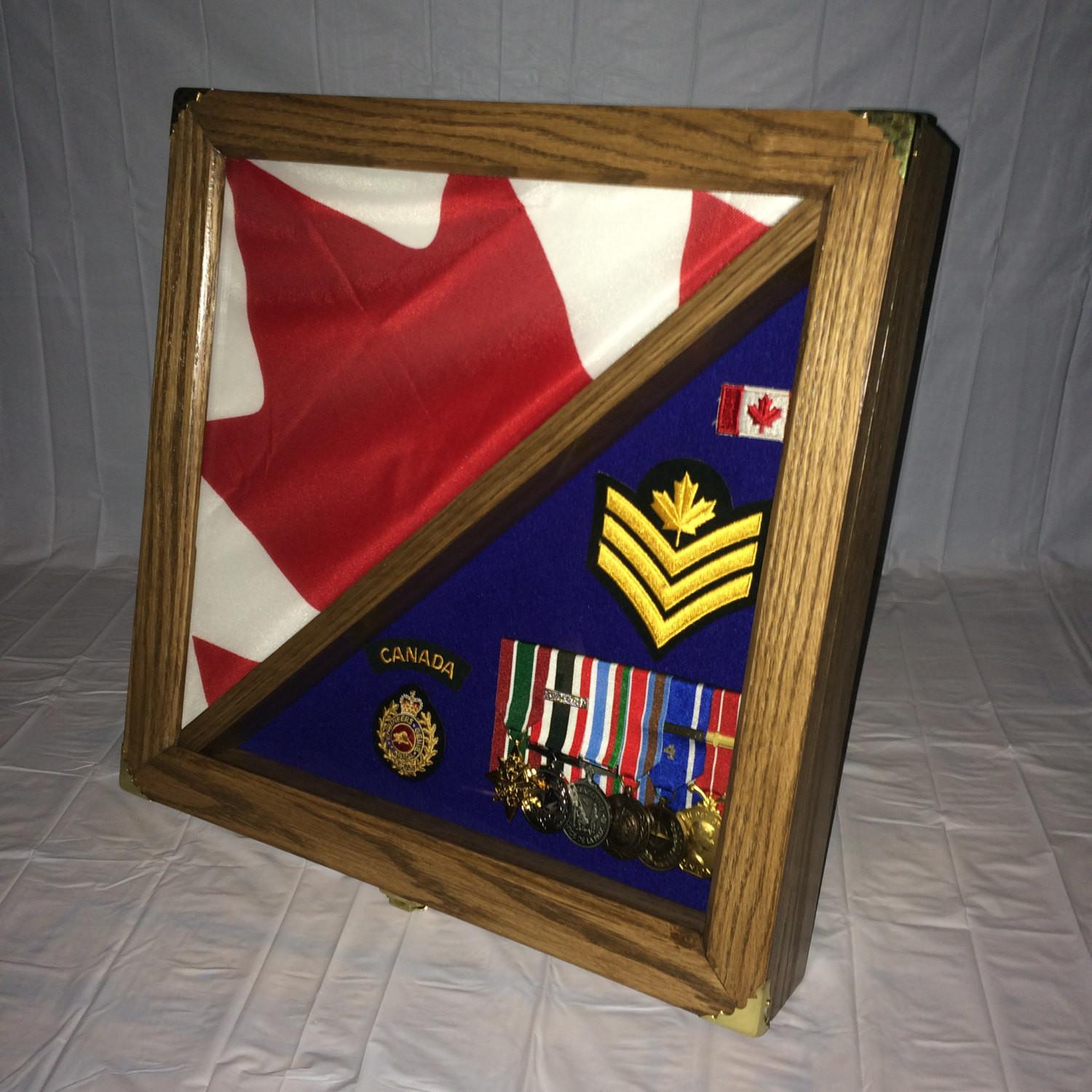 Flag Shadow Box Display Case Medals