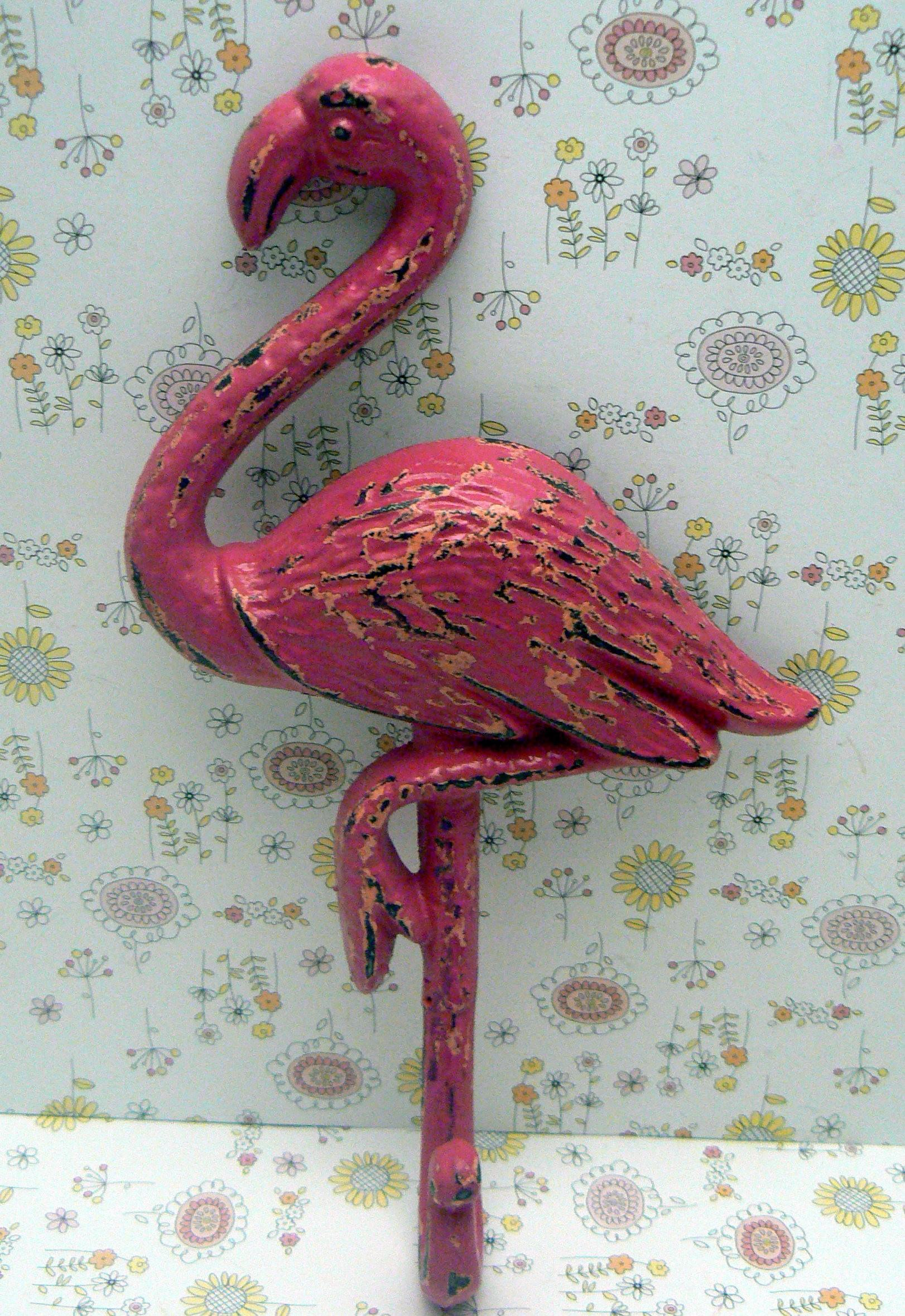Flamingo Cast Iron Wall Hook Shabby Chic Hot Pink Rustic