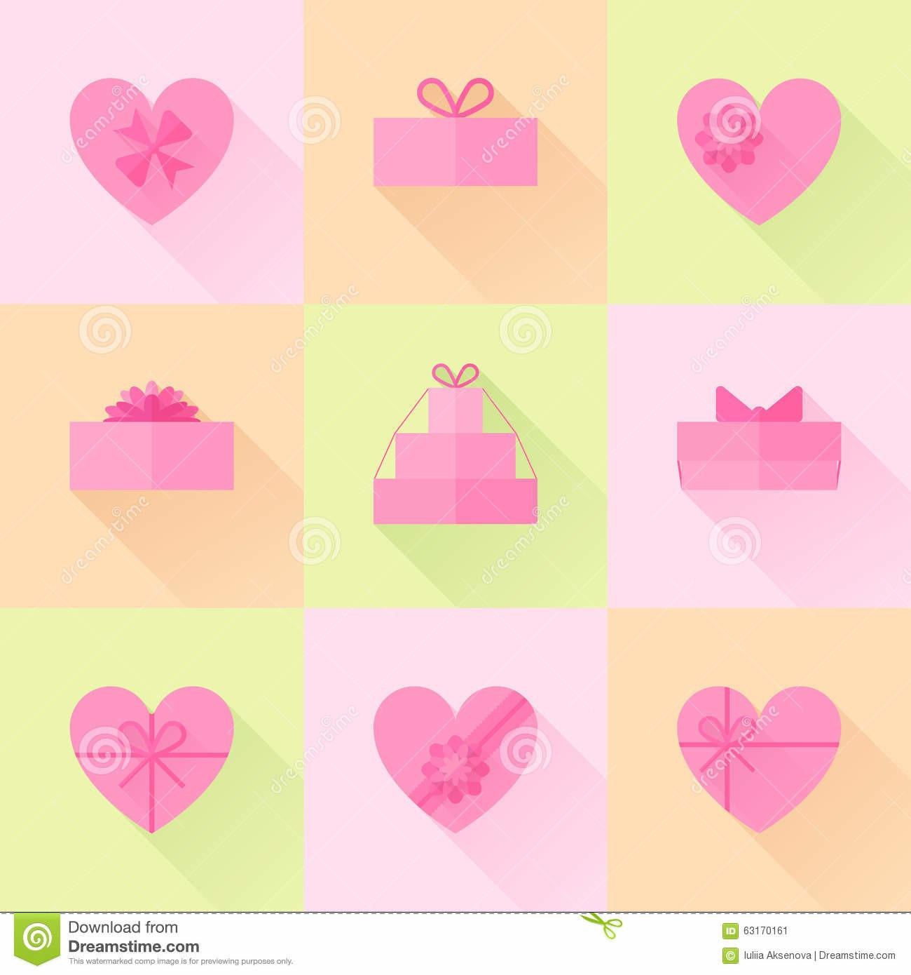 Flat Red Gift Box Form Heart Icon Set Stock