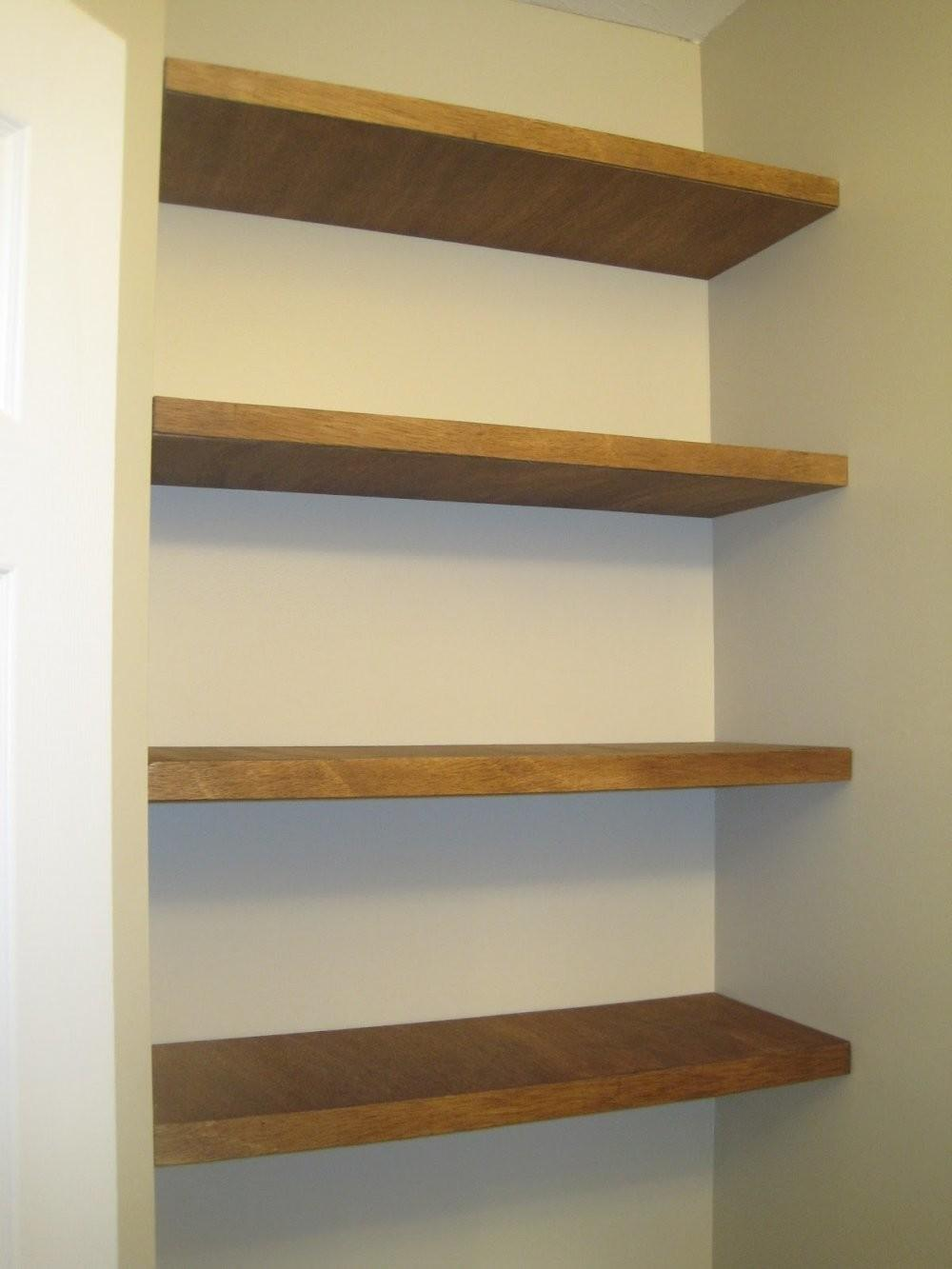 Floating Shelves Here Thick Stained Wood Floatin