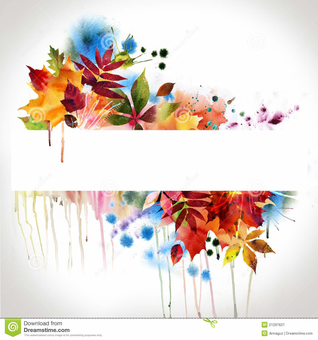 Floral Autumn Design Watercolor Painting Stock