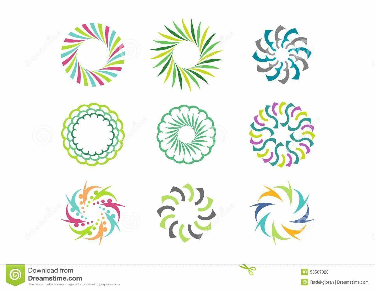Floral Circle Logo Template Set Round Abstract Infinity