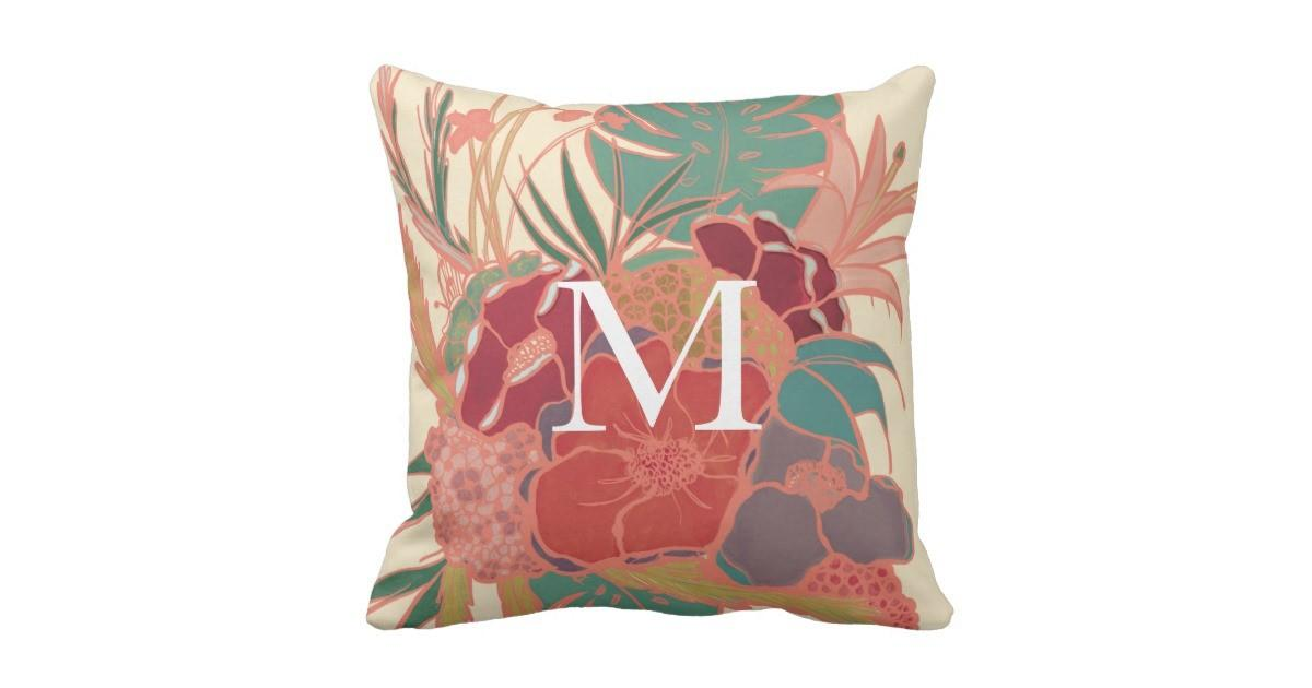 Floral Colourful Monogram Rustic Throw Pillow Zazzle