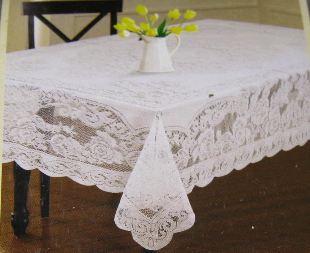 Floral Lace Tablecloths Assorted Sizes White Cream