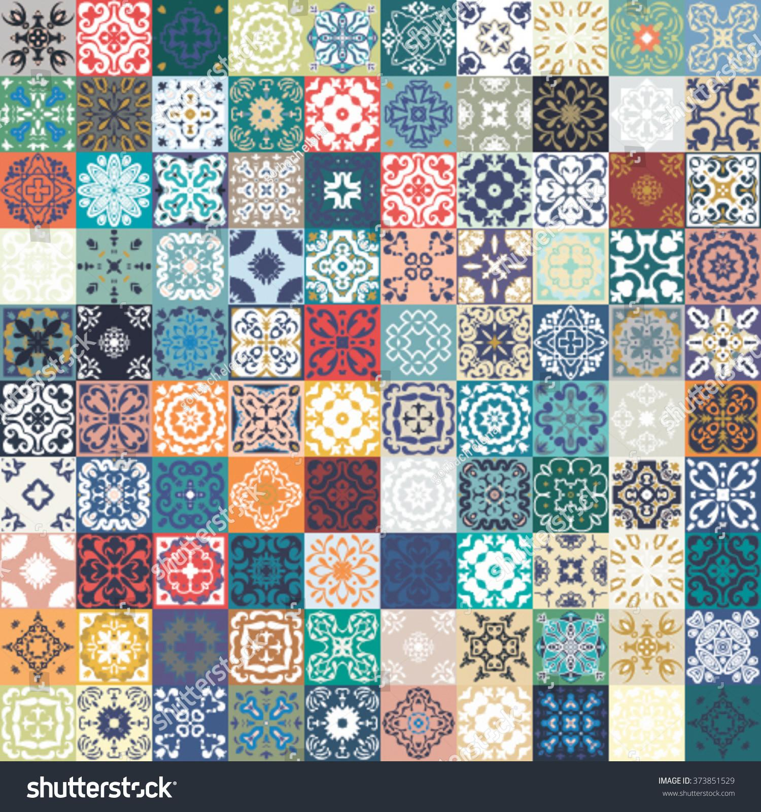 Floral Patchwork Tile Design Colorful Moroccan Stock