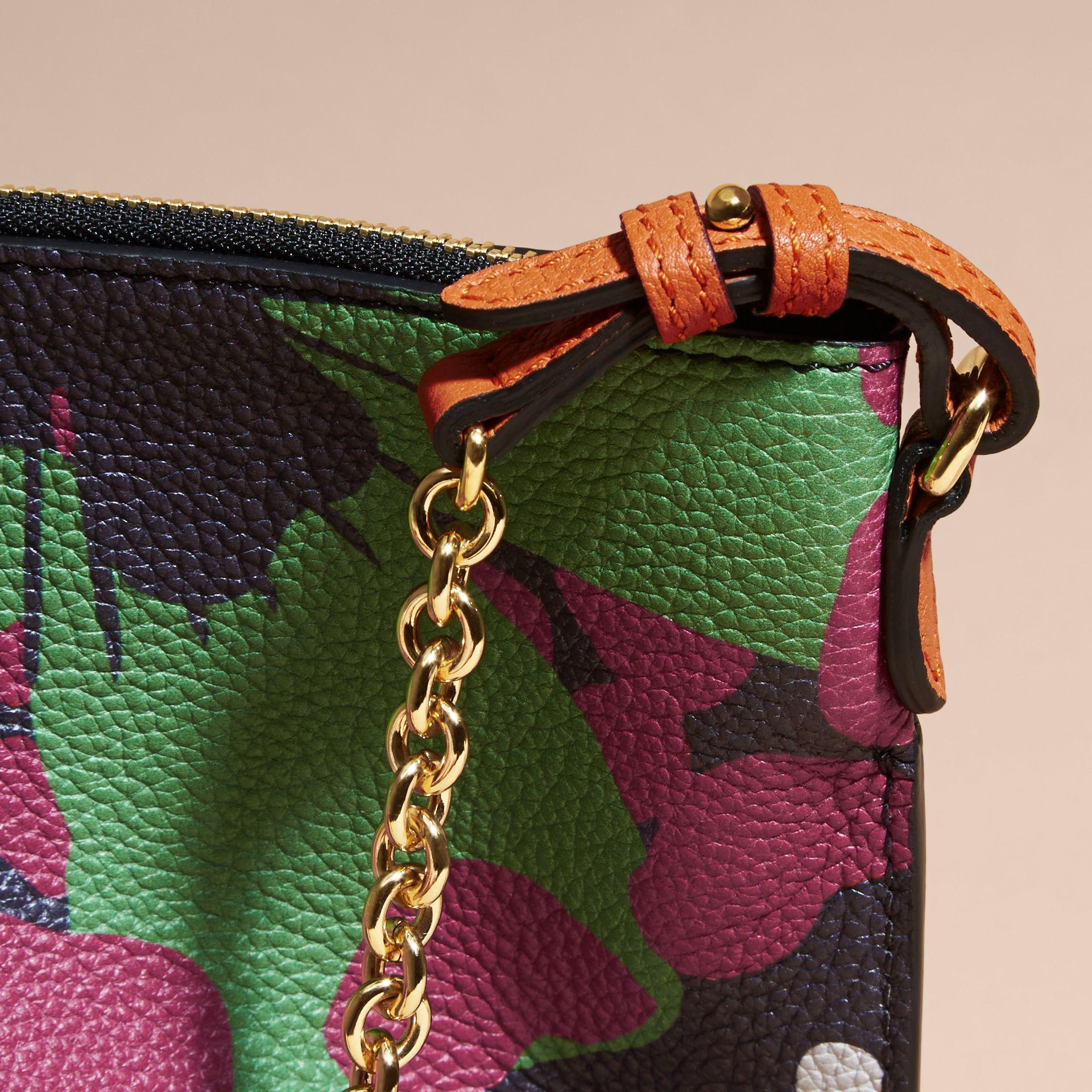 Floral Print Leather Clutch Bag Navy Burberry