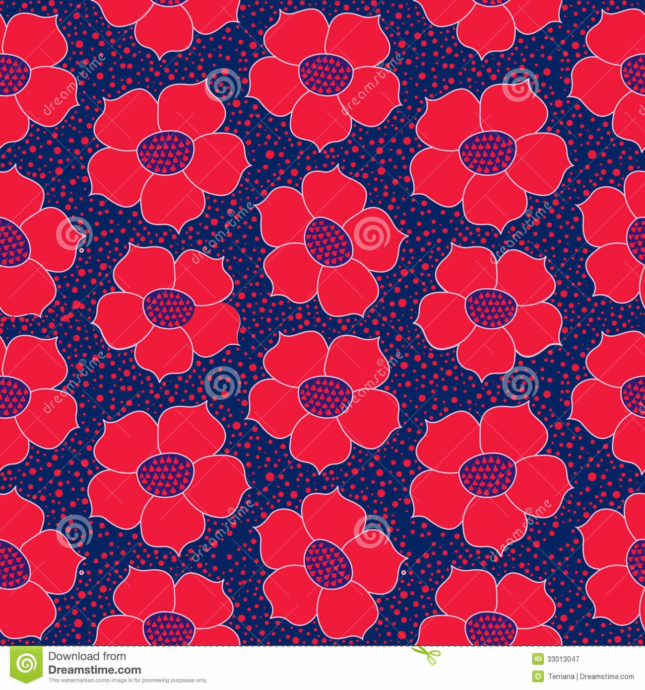 Floral Seamless Red Flower Pattern Royalty