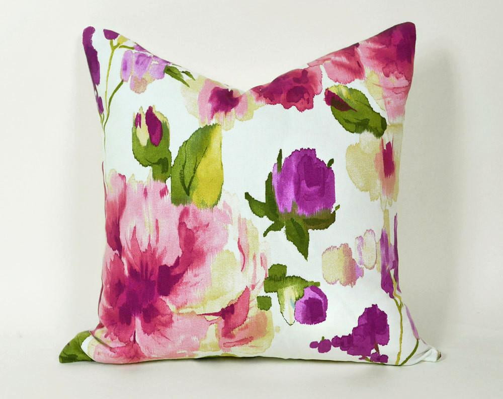 Floral Watercolor Pillow Cover Spring Pillowthrowdecor