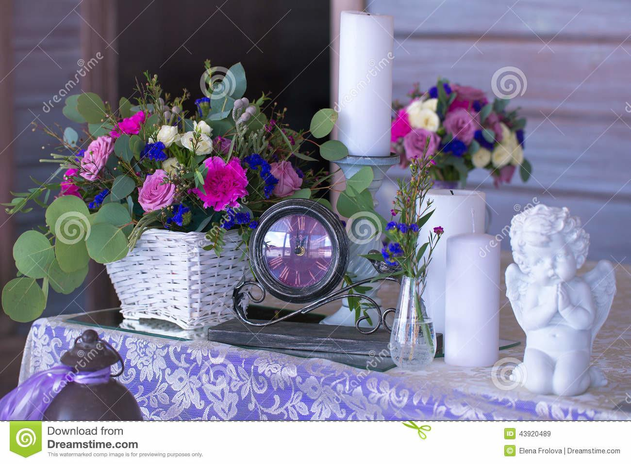 Flower Arrangement Basket Decorate Wedding Table