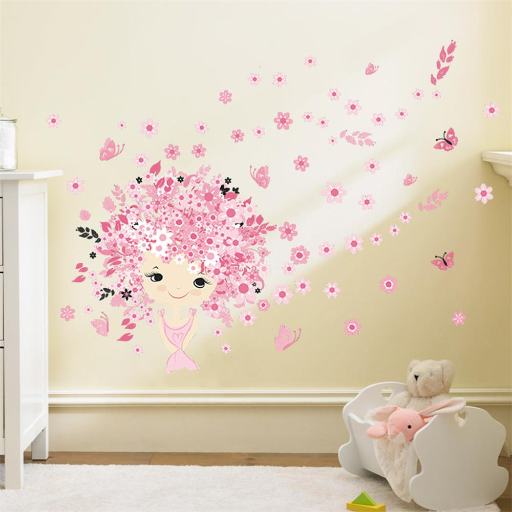 Flower Fairy Pink Cute Baby Girl Mermaid Butterfly