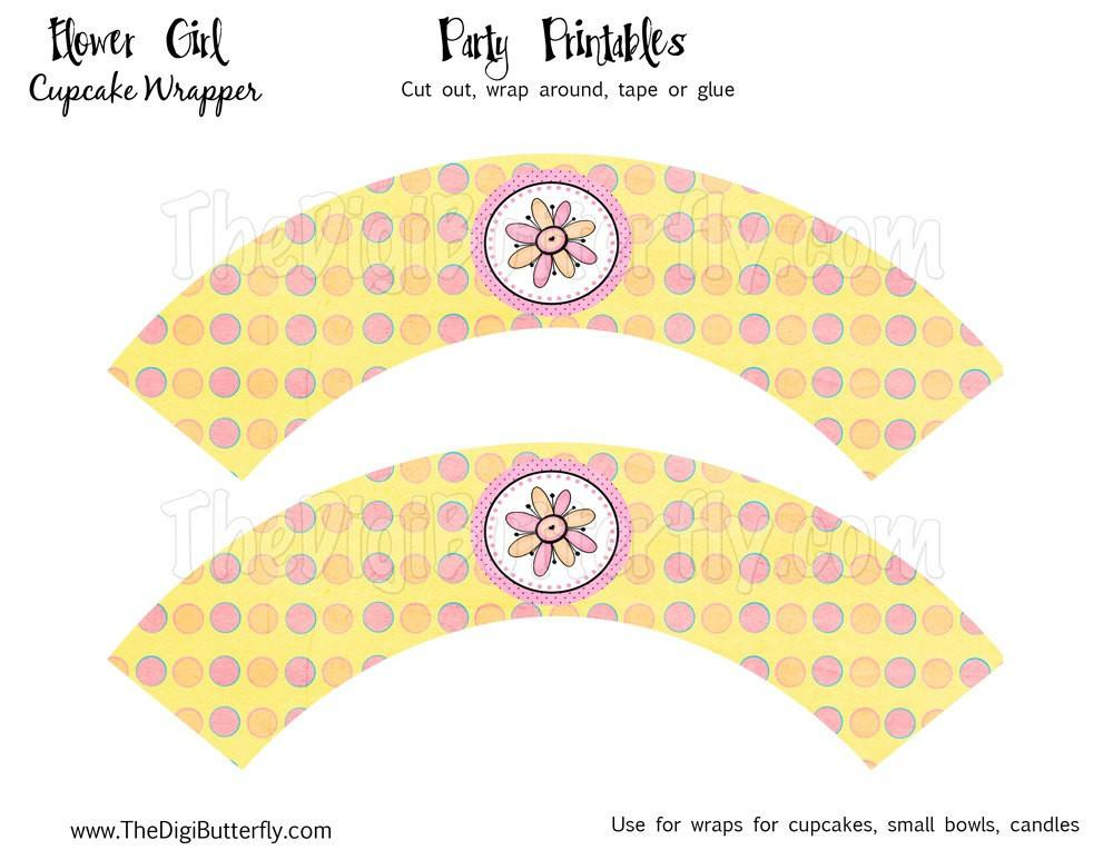 Flower Girl Party Cupcake Wrappers Diy Printables