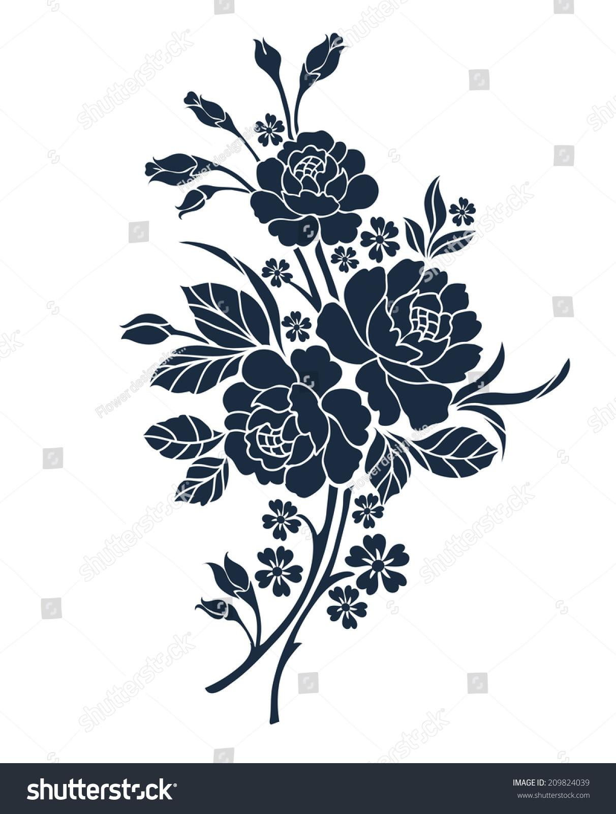 Flower Motif Design Stock Vector Shutterstock