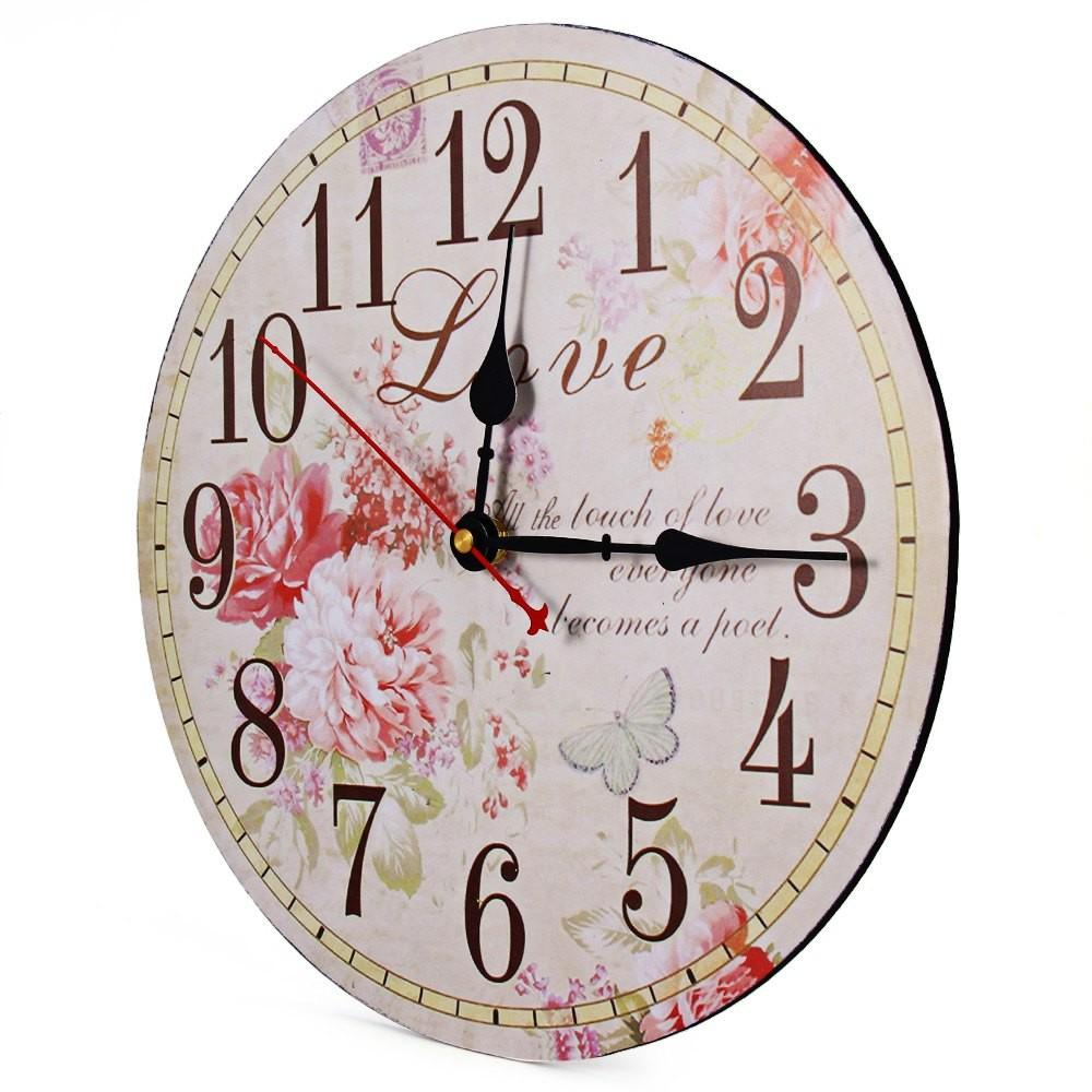 Flower Print Vintage Wooden Decorative Wall Clock