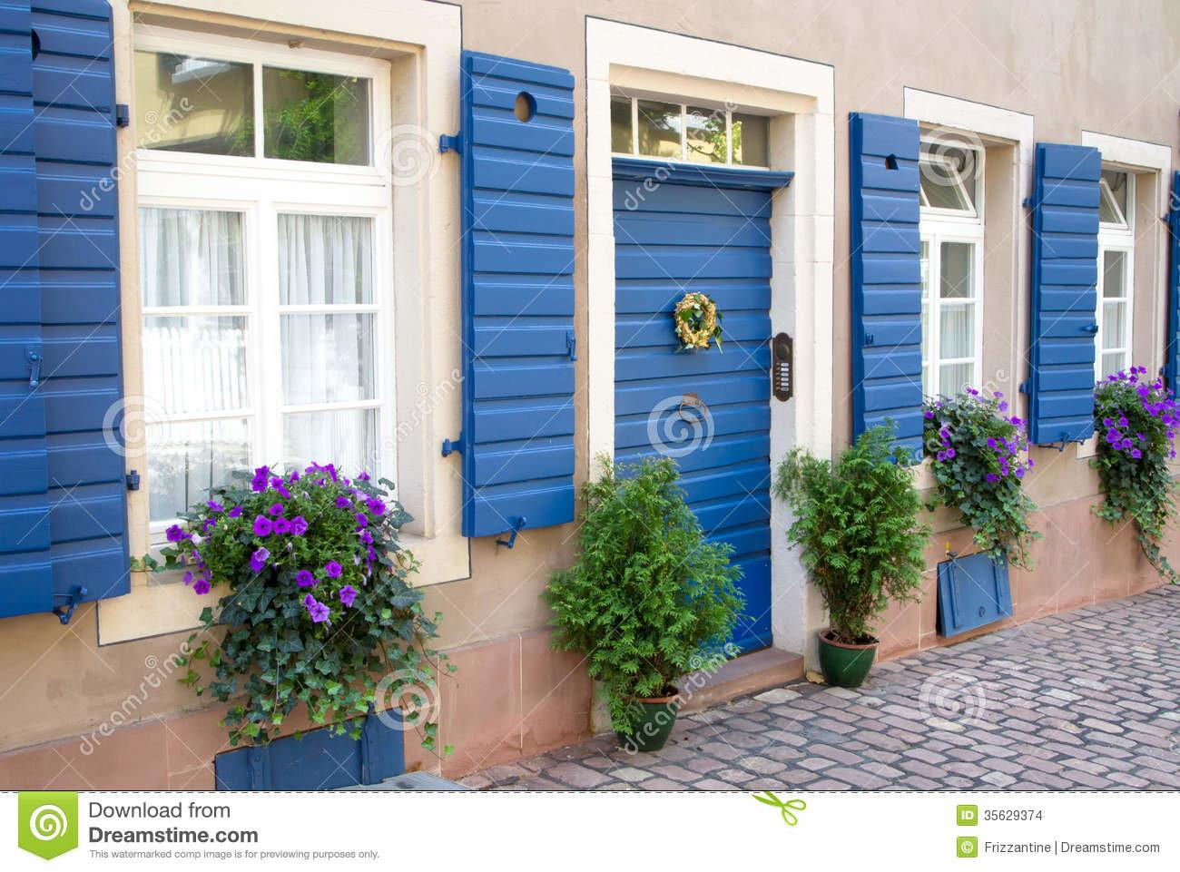 Flowers Plants Decorating House Exterior Stock