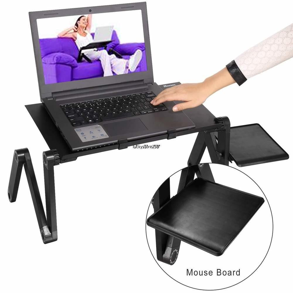 Foldable Laptop Notebook Desk Table Fan Hole Stand Bed