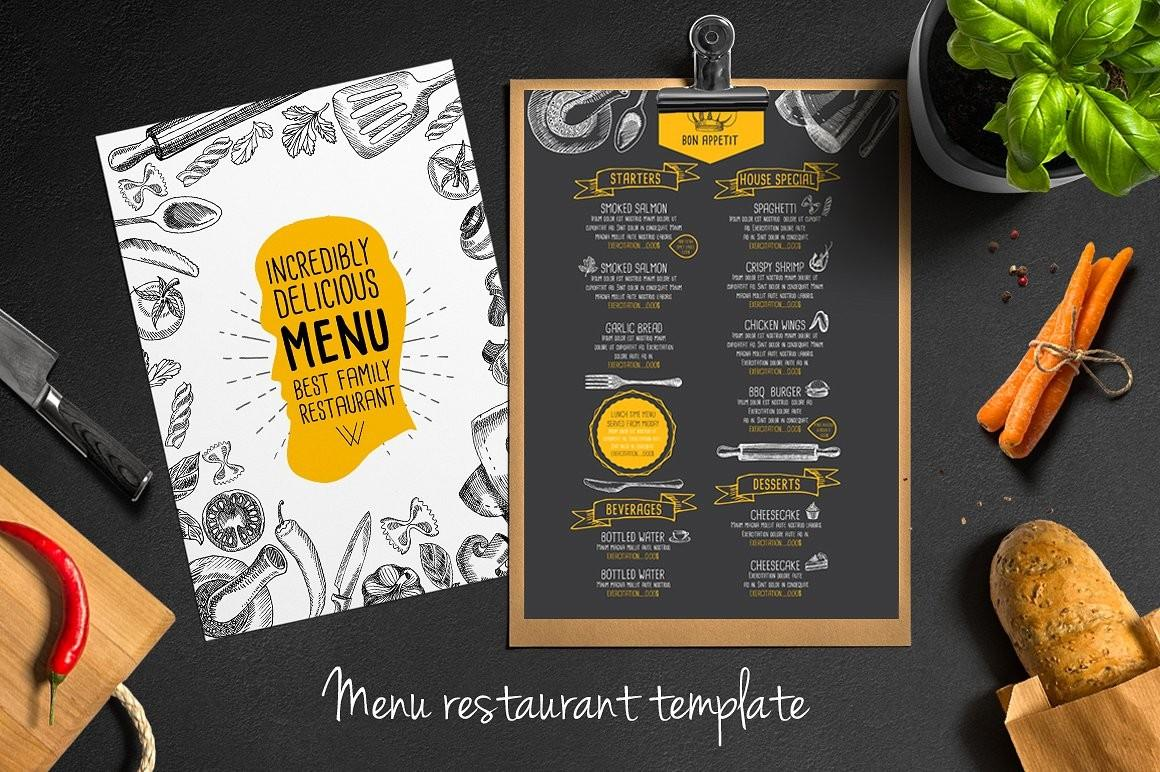 Food Menu Restaurant Flyer Brochure Templates