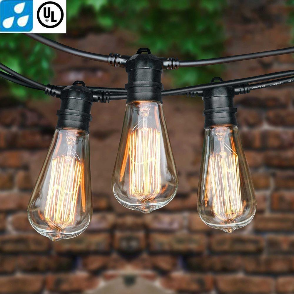 Foot Vintage Patio String Lights Amber E26 Edison