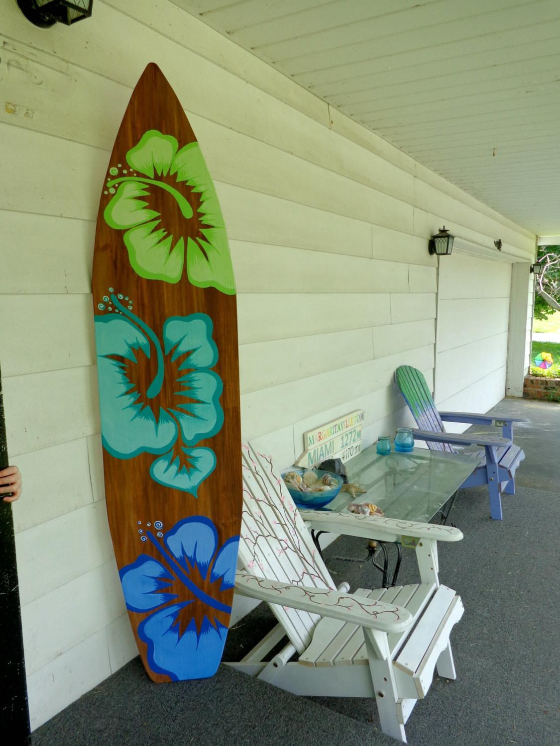 Foot Wood Hawaiian Surfboard Wall Art Decor Headboard