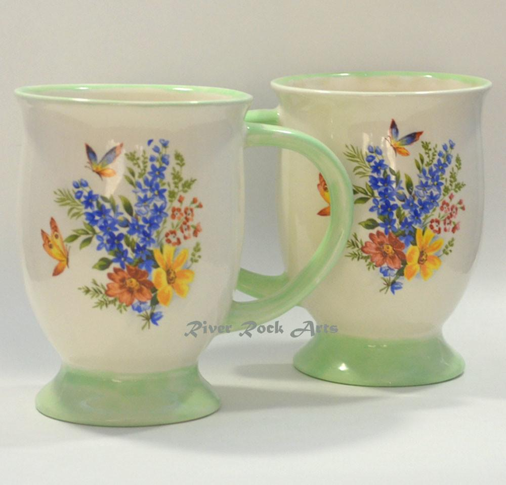 Footed Light Green Spring Bouquet Ceramic Mugs Set