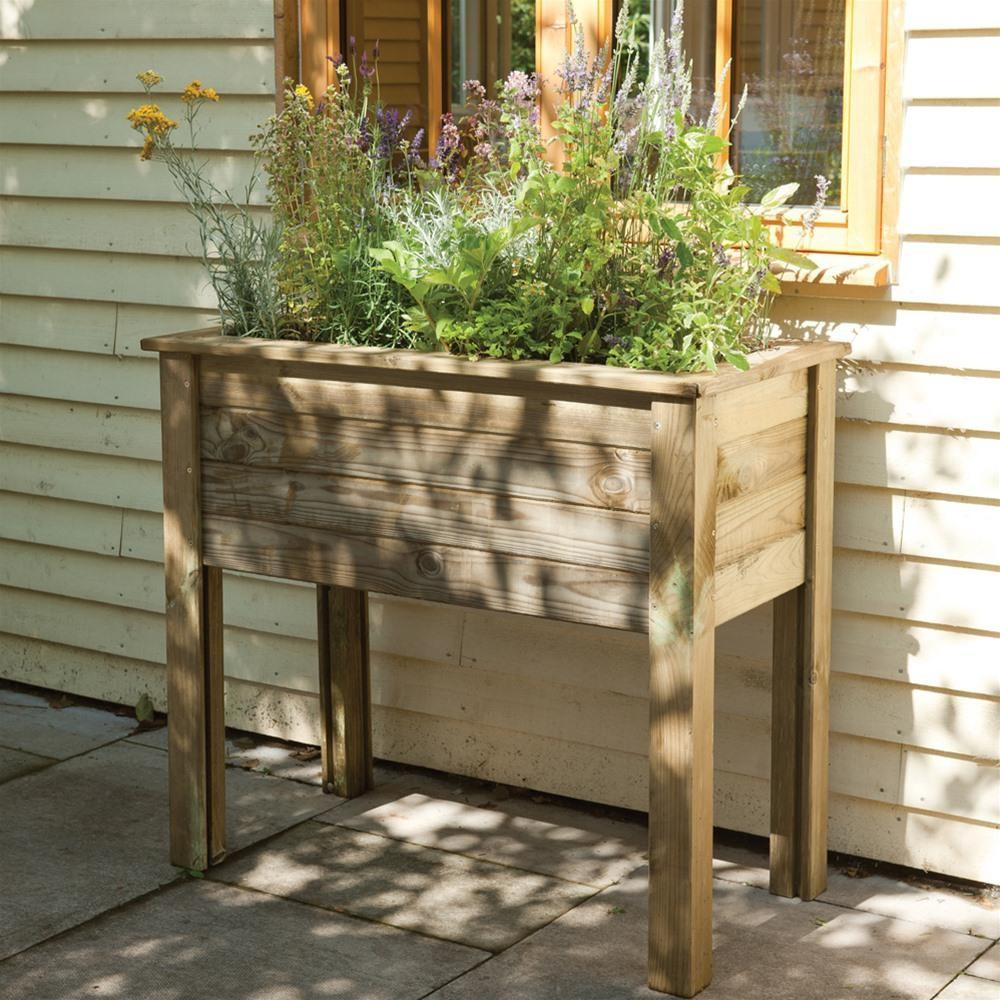 Forest Garden Bamburgh Raised Wooden Planter Table