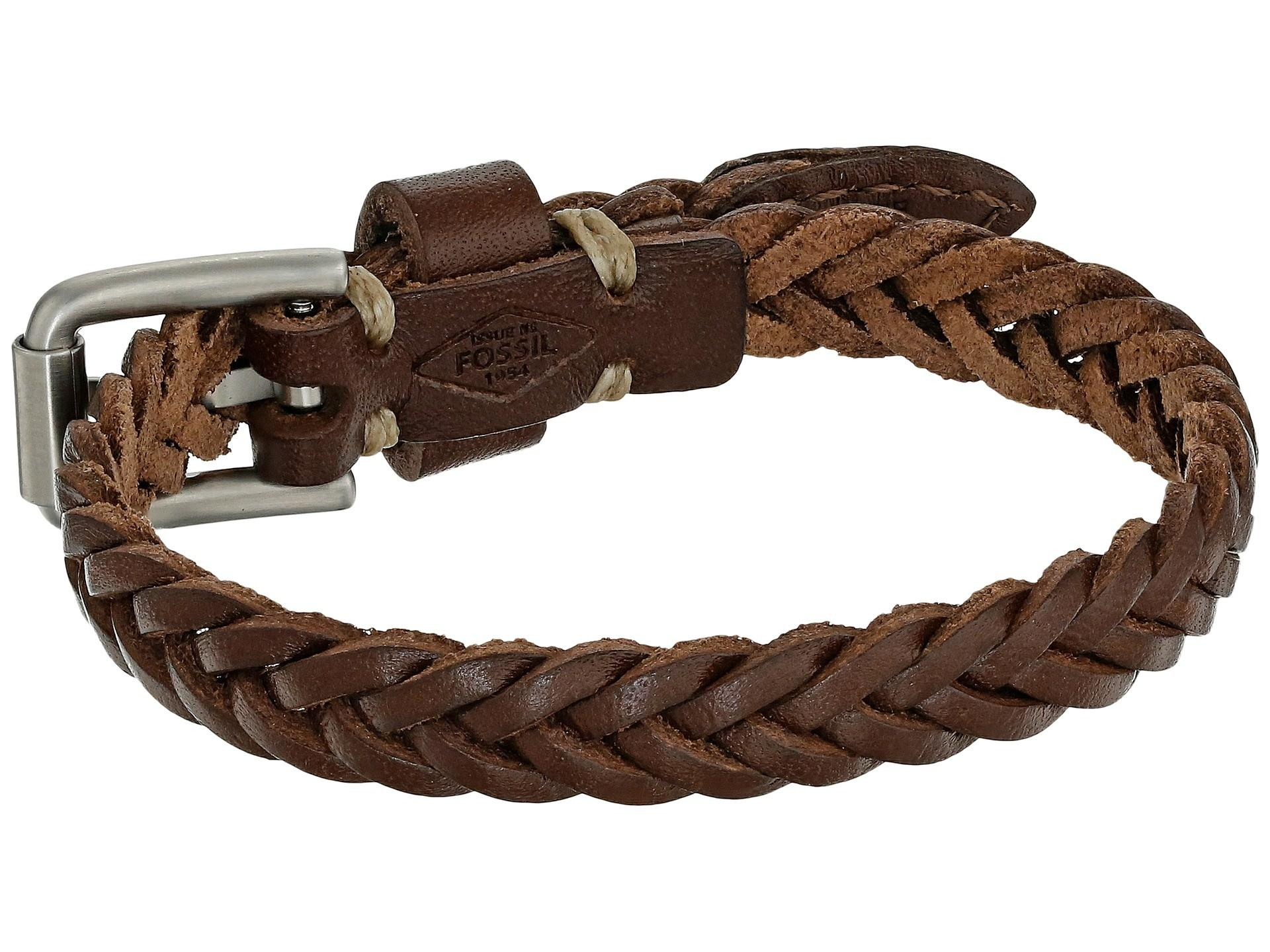 Fossil Vintage Casual Braided Leather Bracelet Brown
