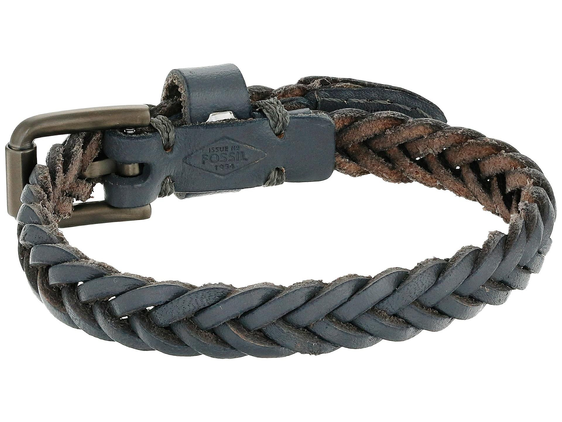 Fossil Vintage Casual Braided Leather Bracelet Gray