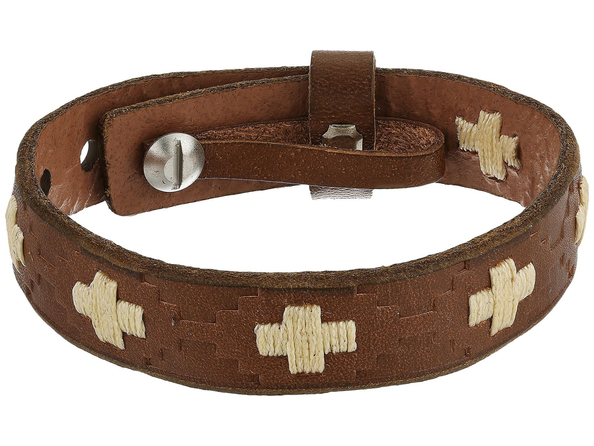 Fossil Vintage Casual Cross Stitched Leather Bracelet
