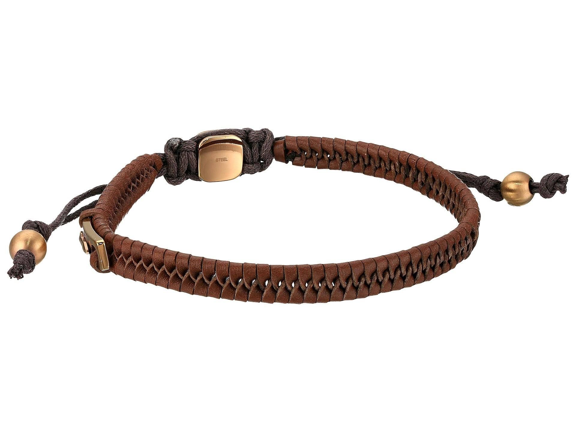 Fossil Vintage Casual Leather Bracelet Zappos