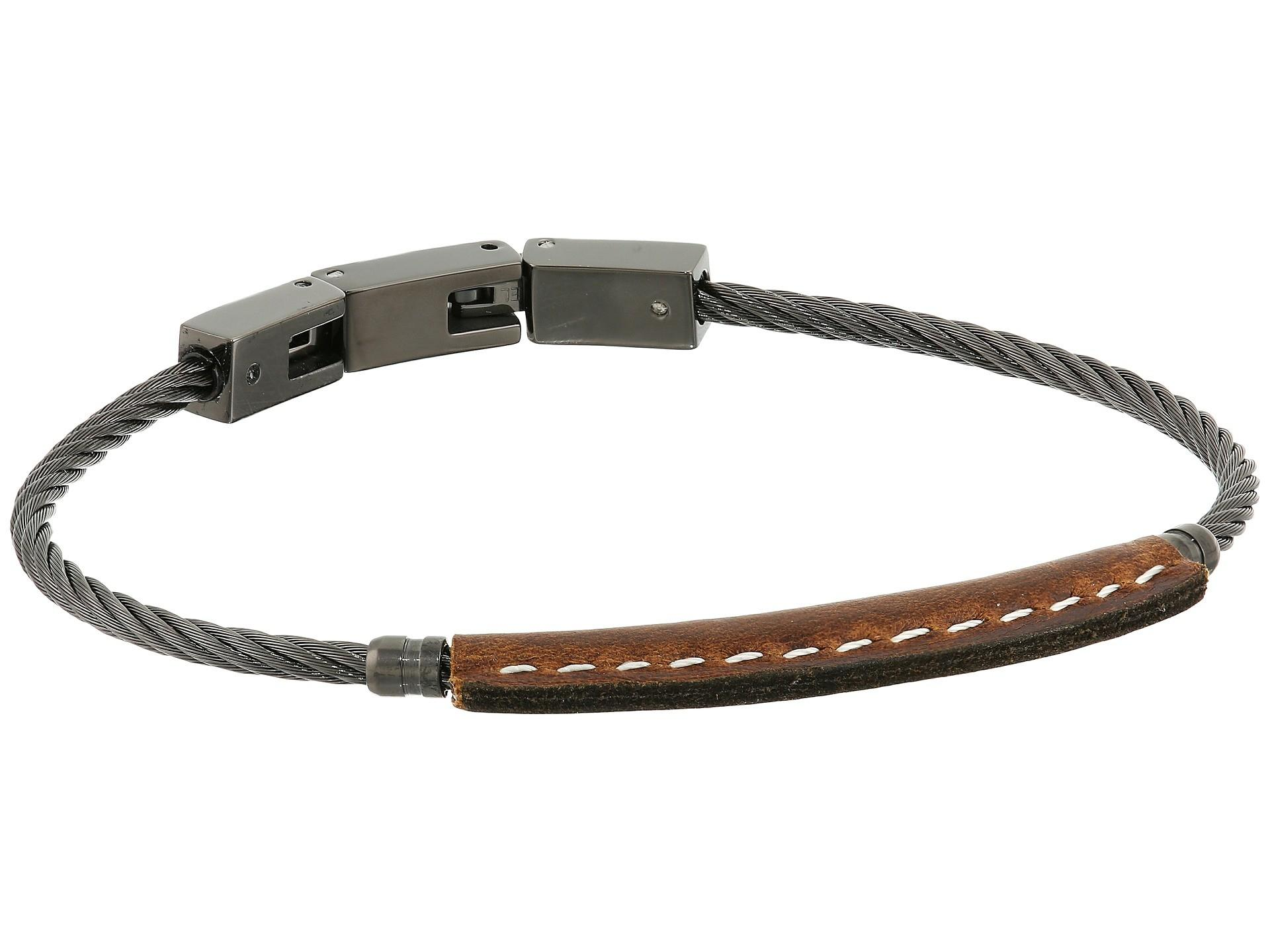 Fossil Vintage Casual Leather Steel Bracelet Zappos