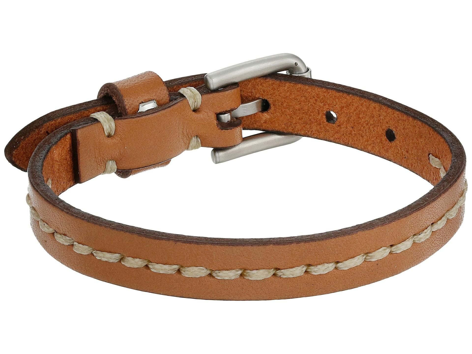 Fossil Vintage Casual Stitched Leather Bracelet Zappos