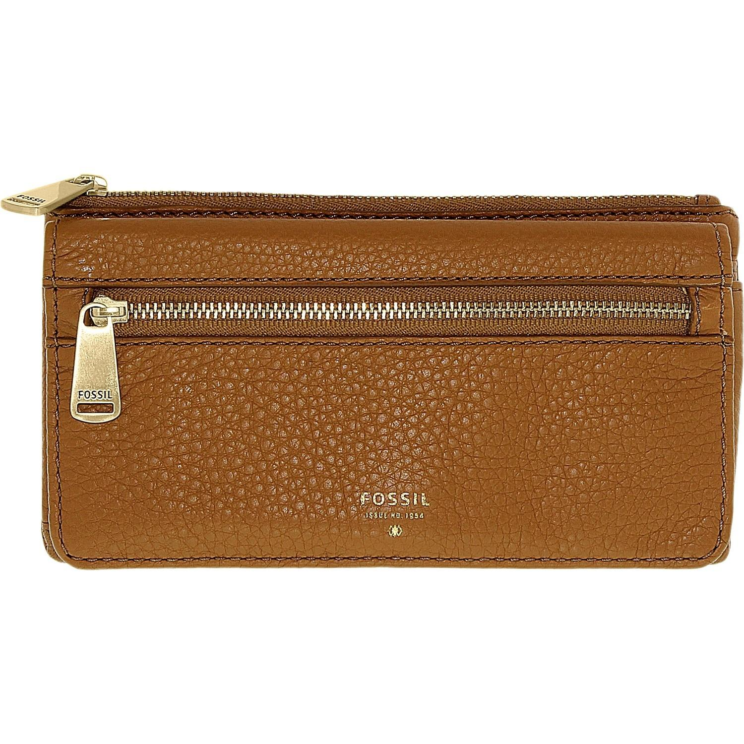 Fossil Women Preston Flap Clutch Leather Wallet Baguette