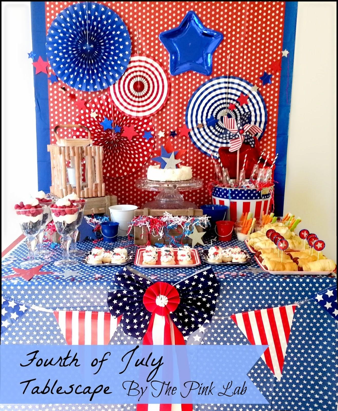 Fourth July Tablescape Pink Lab