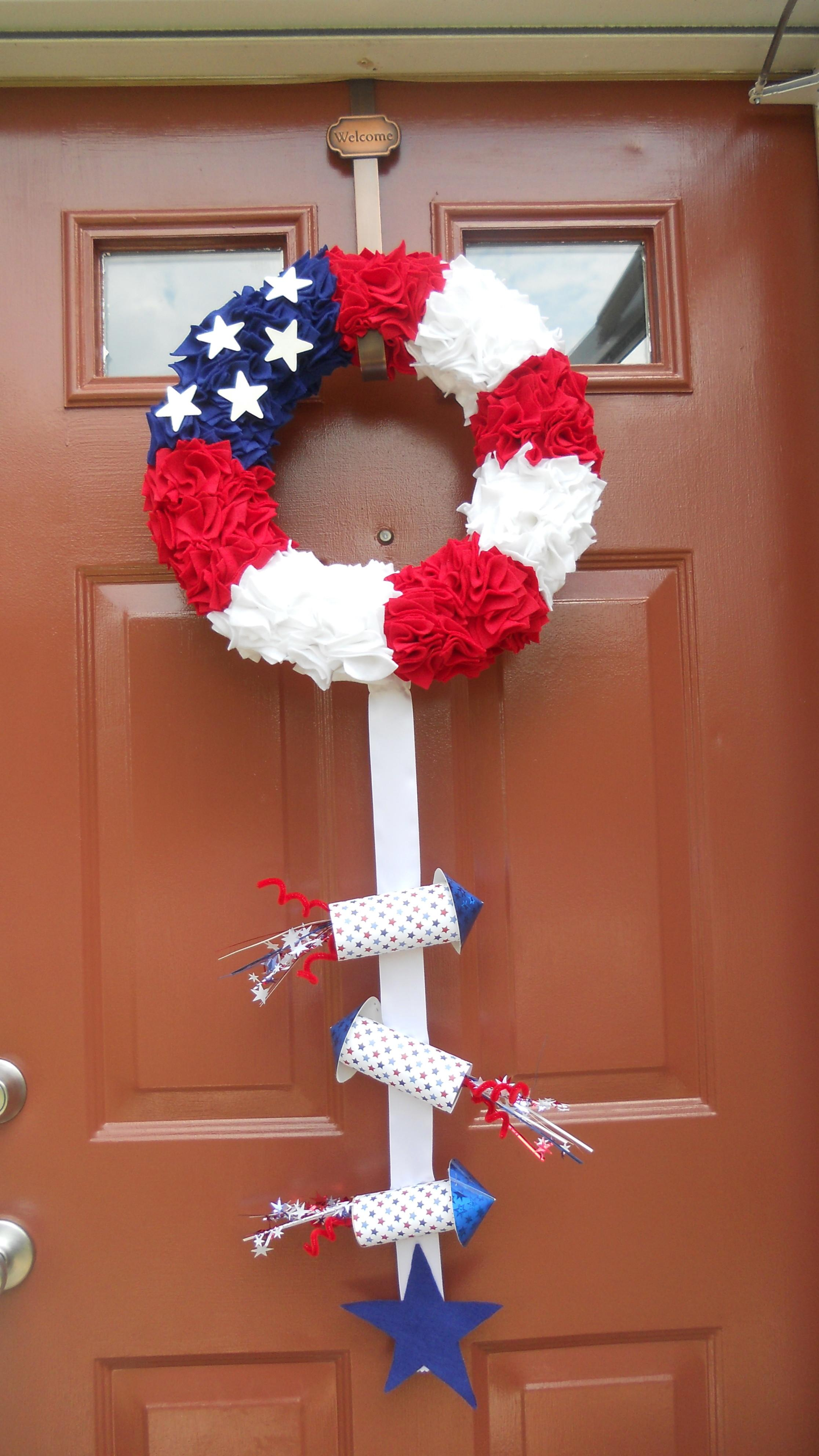 Fourth July Wreath Painted Front Door