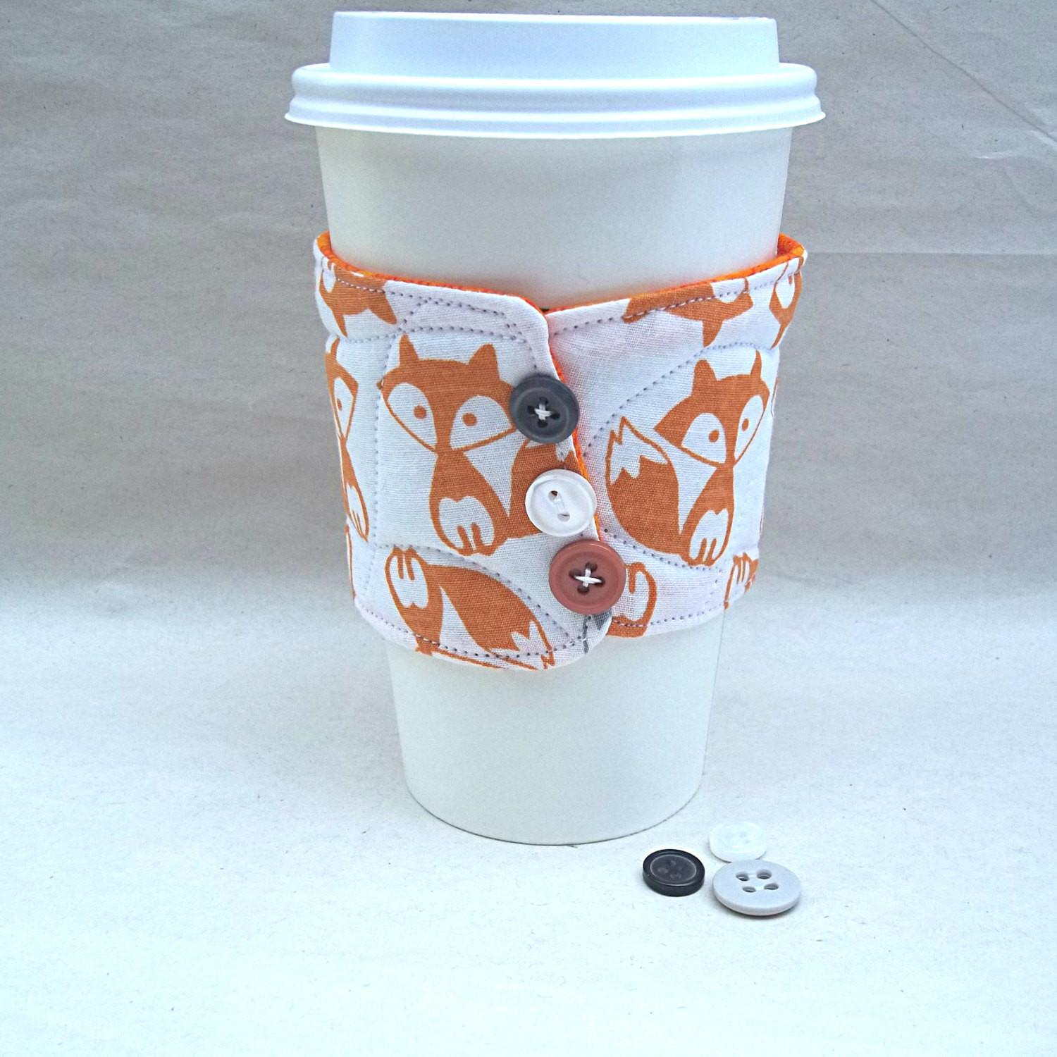 Fox Coffee Cup Cozy Drink Insulated Reusable Quilted
