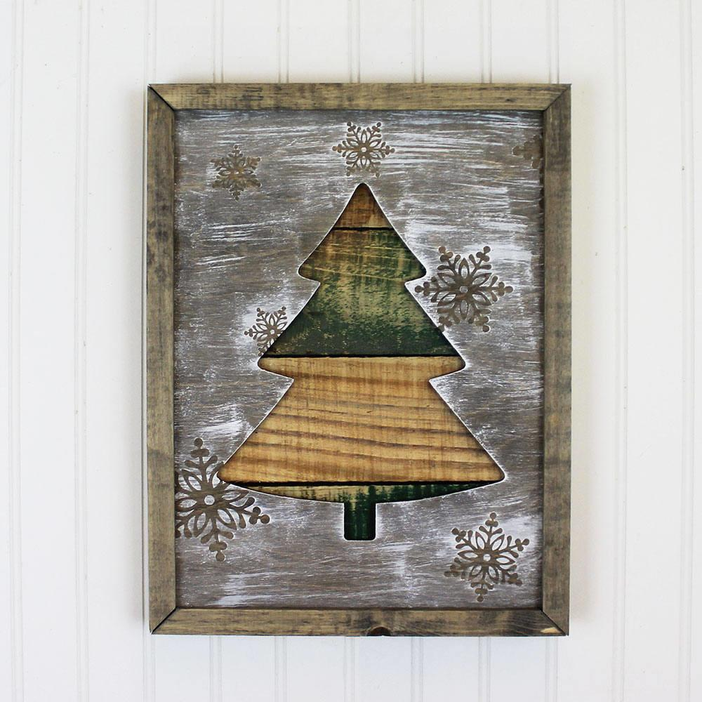 Framed Rustic Christmas Tree Holiday Decor Winter Home