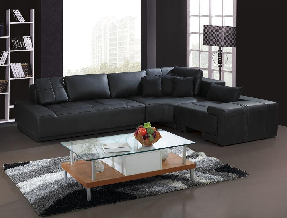 Franco Collection Modern Shaped Leather Sofa Couch Black