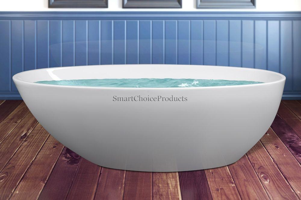 Freestanding Large Round Spa Soaking White Acrylic